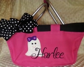 Mini Market Tote Halloween with Glittery Ghost Applique Monogram for Boys or Girls