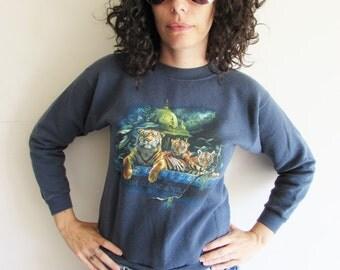 Vintage 90s Dark Blue Indian Tiger Busch Gardens Sweatshirt