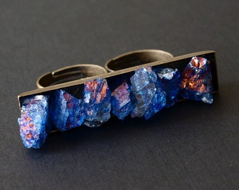 Blue Quartz Double Finger Ring, Crystal Two Finger Rock Ring
