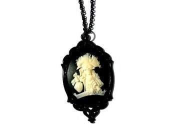 Pirate Cameo Necklace Black Skeleton Gothic Handmade Gift