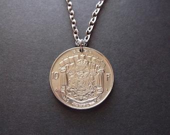 Belgium 10 FR Coin Necklace - Belgium Coin Pendant  dated 1970 Belgium Coin Necklace 45 yr Anniversary Gift