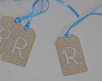 Blue and Gold Initial Glitter Tags