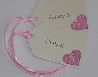 Glitter Heart Name Tags