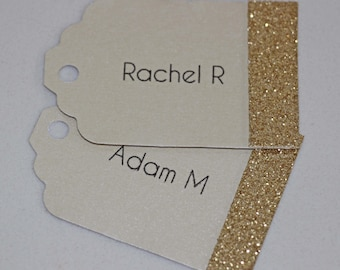 Gold Glitter Wedding Name Tags