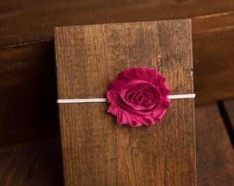 Fuchsia Dark Pink Shabby Flower Headband, photo prop, Newborn, toddler, adult