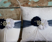 Flower Girl Basket and Ring Bearer Pillow Set , Navy Blue Ring Bearer Pillow , Flower Girl Basket , Wedding Pillow