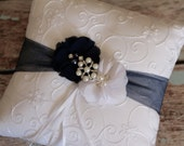 Navy Blue Ring Bearer Pillow , Ring Bearer Pillow , Ivory or White Ring Bearer Pillow ,Aqua Blue Color  Wedding