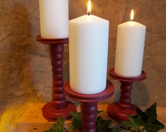 Pottery Red Pillar Candle Holders set of 3