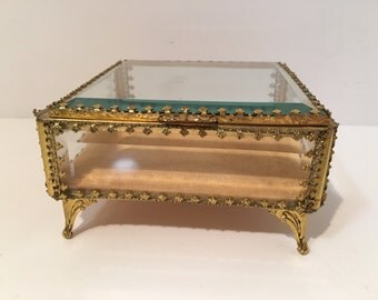 Vintage Jewel Box/Casket 1950s Filigree Square