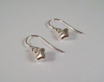 Sterling Silver Heart Earrings, Sterling Silver Love Heart Earrings, Heart Earrings, Love Earrings, Valentine Earrings, Silver Earrings,
