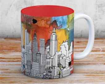 New York Mug - Collectible art item for the home. Perfect as a gift of NYC. Available with a Red interior