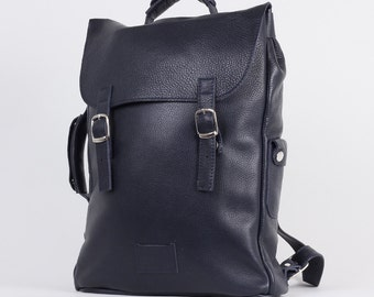 Dark blue large leather backpack rucksack handmade/ To order / Leather backpack / Leather rucksack / Womens backpack / Christmas Gift