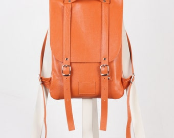 Orange leather backpack rucksack / To order / Leather backpack / Leather rucksack / Womens backpack / Gift