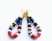 Cord Hand Wrapped Dangle Tribal Earrings