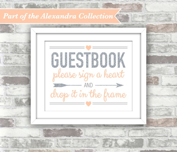 INSTANT DOWNLOAD - Printable Wedding Drop Top Heart Guestbook Sign - ALEXANDRA Collection Silver Glitter Blush Peach-Pink Digital File 8x10