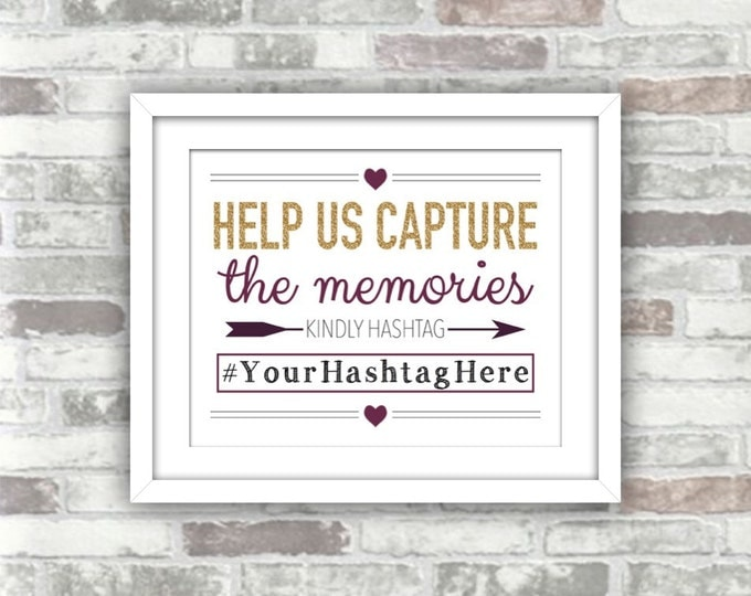 PRINTABLE Personalised Wedding Hashtag Sign Digital File - Help us Capture the Memories - Gold Glitter Effect Plum Burgundy Autumn Fall 8x10