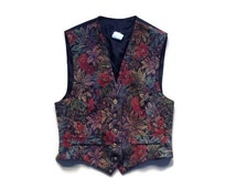 Small Ugly Christmas Vest - Tapestry Vest - 90s Button Up Vest - Black Vest - Snowman Clothing - Ugly Sweater Party