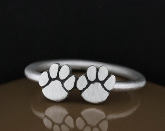 Petite Sterling Silver Double Paw Ring, Paw Jewelry