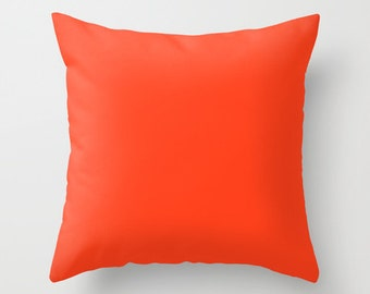 Red Orange Throw Pillow Cover, Decorative Pillow Cover