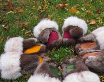 custom Fox & Muskrat mittens (S-M , up to 7.5''length/width)