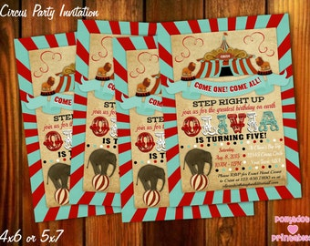 Circus Carnival Themed Invitation 4x6 or 5x7 Printable Digital File
