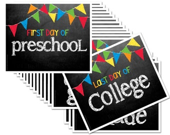 Last Day & First Day of School Chalk Sign - Includes Preschool to College (16 grades), Fits any 8x10 Frame [Item BTS-1013]