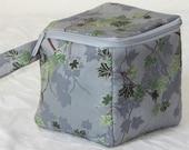 "Zippered project yarn box, 5""x5"", sock box bag, knitting, crochet, embroidery"