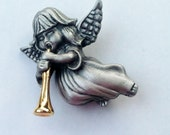 Vintage Guardian Angel Playing Golden Horn Lapel Pin Brooch Pewter