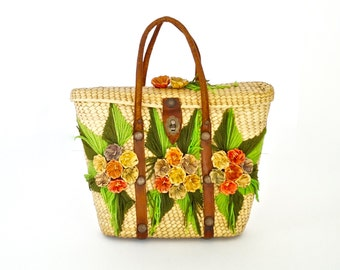 Raffia Market Tote Colourful Straw Bag with Leather Strappings