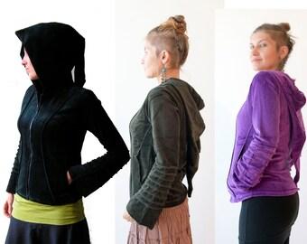 Cotton Velvet  Pixie Hoodie - Psy Jacket - Tribal - Goth - Elf - Gothic - Hood - Women
