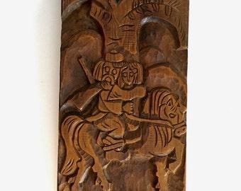 Primative Folk Art Carving on Wood Panel
