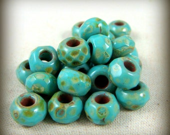 6x9mm Large Hole Rondelle, Picasso Beads, Czech Glass Roller Beads - Turquoise Large Hole Faceted Rondelle (ROL/N-0634) - Qty. 12