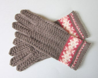 Light Brown Folk Gloves Wool Lace Gloves For Women Gifts Hand Knit Wool Gloves Fingerless Gloves Wool Gloves