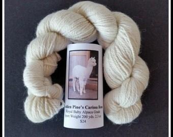 White Royal Baby Alpaca Yarn 200 Yds. 2.3 Oz.
