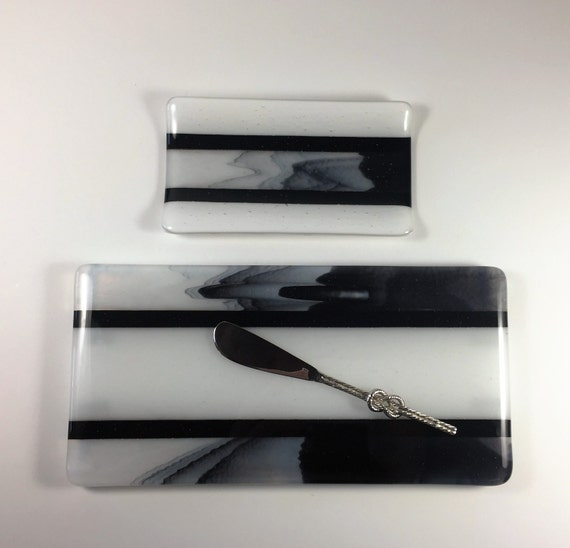 Fused Glass Cheese Tray and Spoon Rest Set