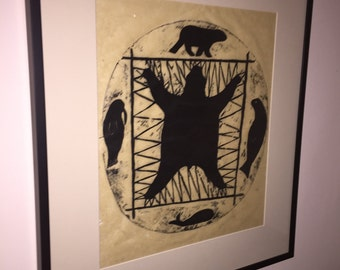 Inuit Woodblock signed and dated in new frame on Parchment Paper