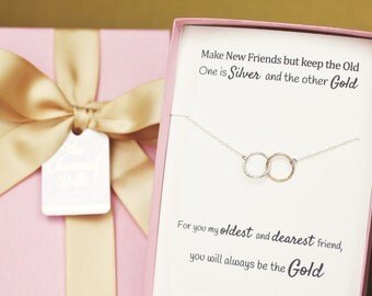 Circle Necklace, Best Friends, Linked Rings, Birthday Gift, Maid of Honor, Matron of Honor, Bridesmaid gift, long distance friendship,