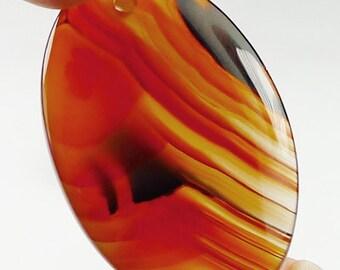 Scenic Agate Pendant Bead - 37x25x5mm