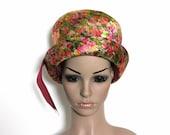 Vintage Hat Pink Metallic Hat Pink Hat Band Garden Party Hat  Mad Men Rockabilly Pink Hat Retro femme fatale 1960s Womens