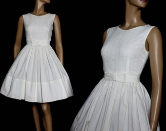 Vintage 1950s Dress White Swing Cocktail Party Couture Mad Man Femme-Fatale Rockabilly Garden Party