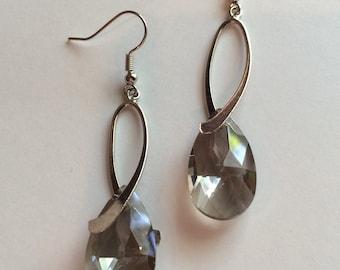Smoky Quartz Crystal Earrings - Silver Teardrop Earrings - Crystal Teardrop Earrings - Women's Crystal Earrings