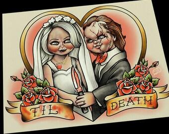 Chucky and Tiffany Bride Groom Offbeat Wedding Tattoo Flash Art Print