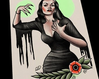 Vampira Tattoo Flash