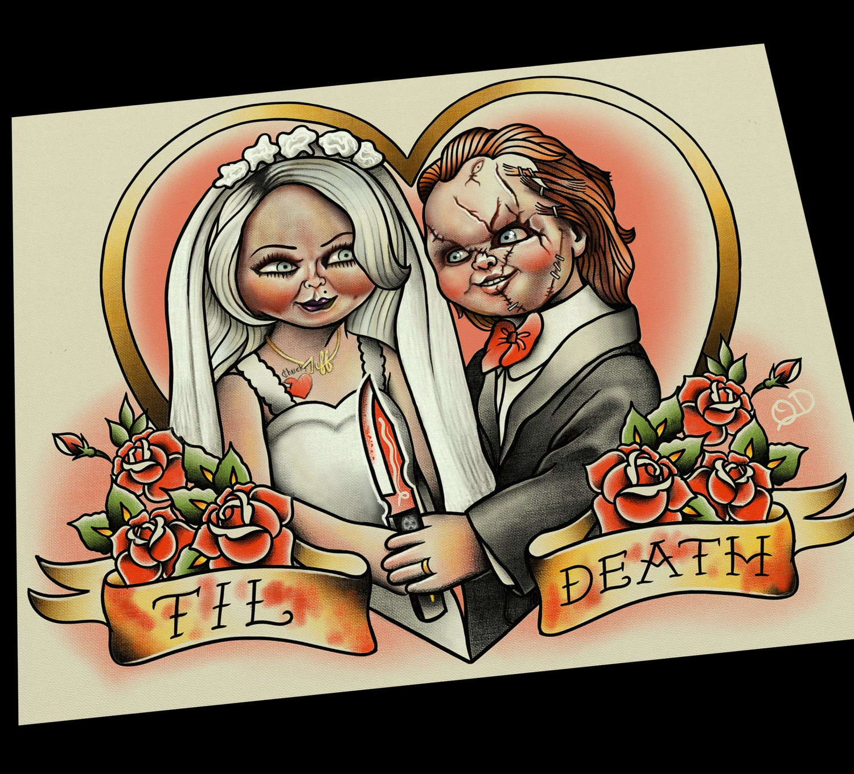 Chucky and tiffany bride groom offbeat wedding tattoo flash for Bride of chucky tattoo