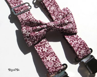 Men's Suspenders Set, Men's Bow Tie and Suspenders, Groomsmen Suspenders, Suspenders For Men