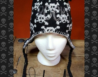 SKULLS, Earflap Knit Hats Rocks. Nordic look, Dia de Los Muertos, Gothic, surfer,  snowboarding, ski