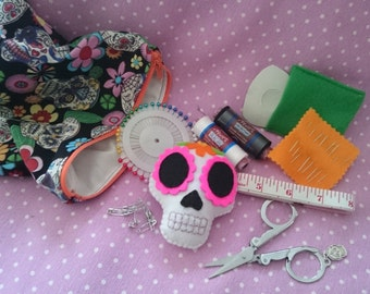 PREMADE Starter Sewing Kit Gothic Sugar Skull Day of the Dead Pincushion Zip Pouch