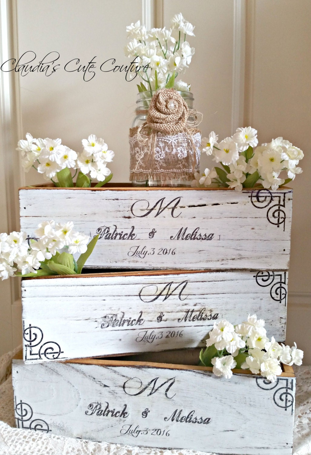 Wood centerpiece box rustic wedding by claudiascutecouture