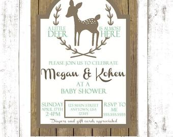 Deer Themed Baby Shower Invitation