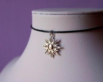 Celestial Sun Silver Charm Black Choker Necklace Leather / Satin Silk Cord Retro 90s / For Her